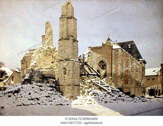 War, Europe, world war I, 1917, Europe, world war, color photo, Autochrome, F. Cuville, western front, department Aisne, France, church, spraying, ruins