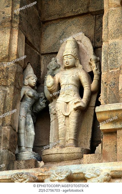 Vishnu with his consorts, niche on the western wall, Brihadisvara Temple, Gangaikondacholapuram, Tamil Nadu, India