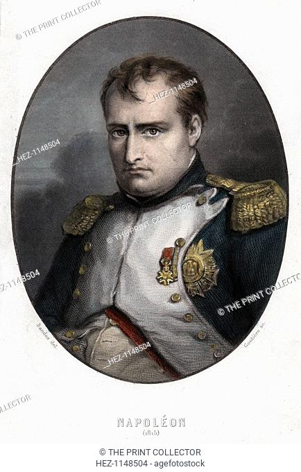 Napoleon Bonaparte, 1840. Portrait of Napoleon Bonaparte (1769-1821) made in the year of the Battle of Waterloo (1815). Napoleon enjoyed a meteoric rise through...