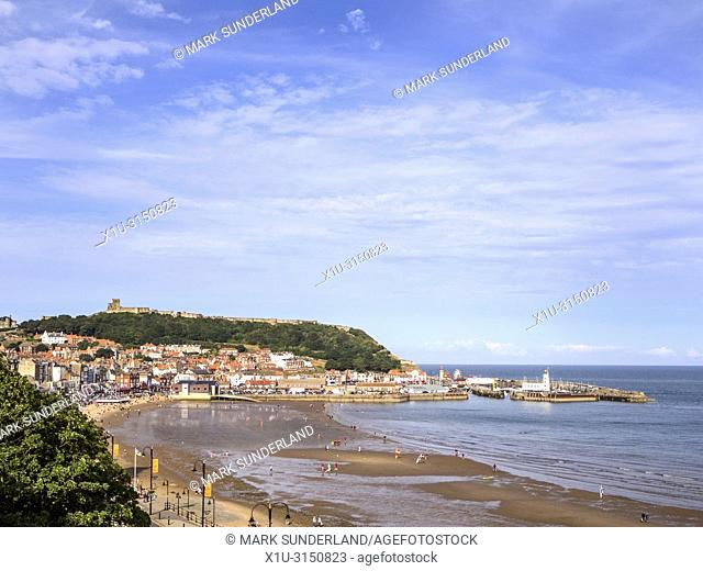 South Bay and Castle Hill under a blue sky at Scarborough Yorkshire England