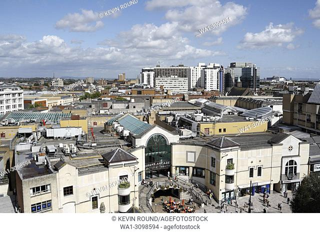 Cardiff City Centre roof top view, Wales UK
