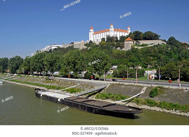 Barge, on Danube river, Bratislava, Slovak Republic / Slovakia