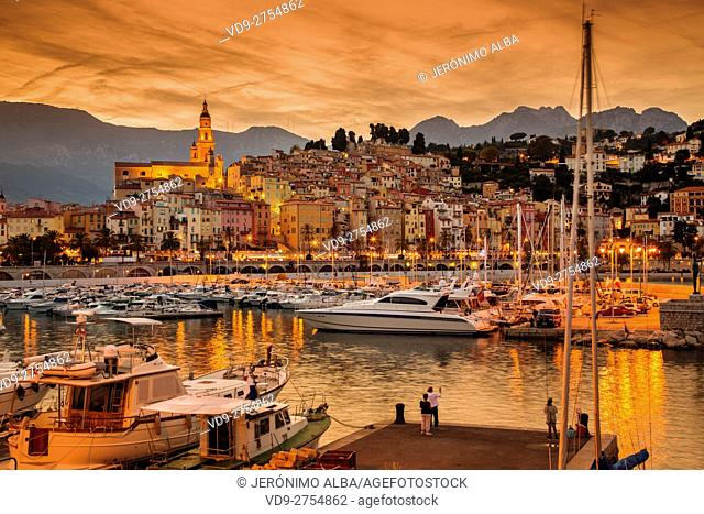 Marina and Old Town with the Basilique of Saint Michel Archange. Menton. Provence Alpes Cote d'Azur. French Riviera. Mediterranean Sea. France. Europe