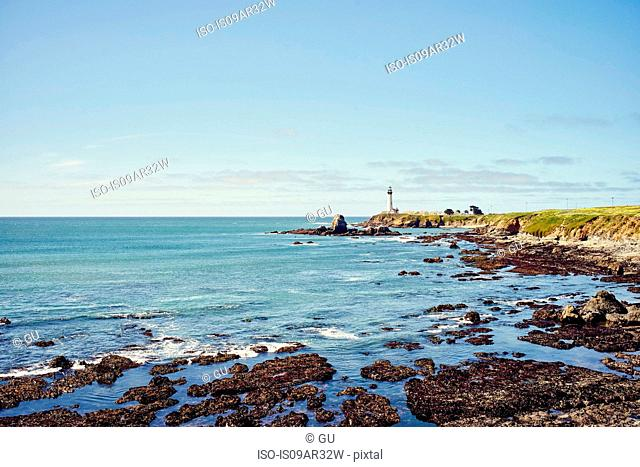 Distant view of Pigeon Point lighthouse, California, USA