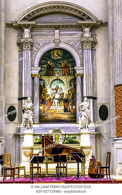 San Vidal Church Altarpiece Basilica Venice Italy. Now a concert hall. San Vidal Painting by Vittore Carpaccio in 1514