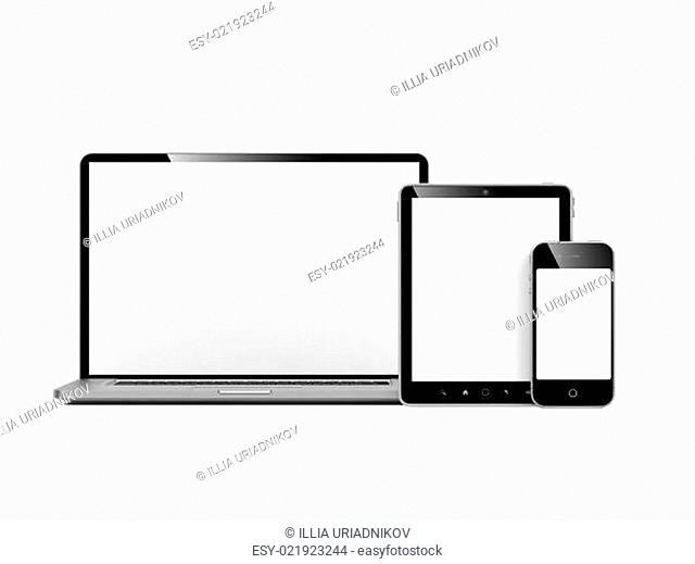 Computer, Laptop and Phone on White