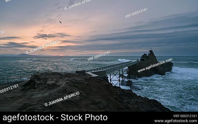 Rocher de la Vierge at sunset, Biarritz, Pyrenees Atlantiques, Aquitaine, France