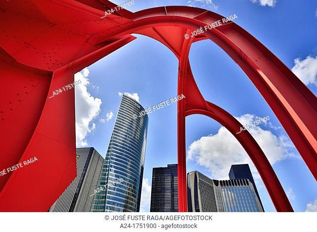 France , Paris City,La Defense District, Defense Square , Alexander Calder structure