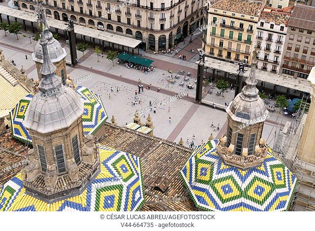 Cathedral of El Pilar  towers and El Pilar square overview. Zaragoza, Aragon. Spain