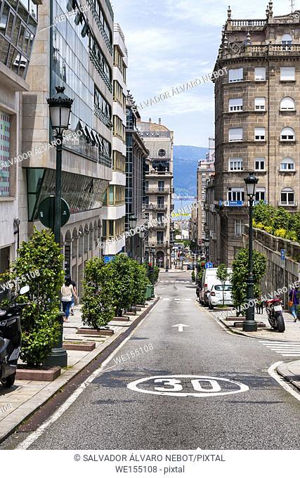 Bajada hacia la Ria de Vigo, Vigo, Pontevedra, Galicia, España