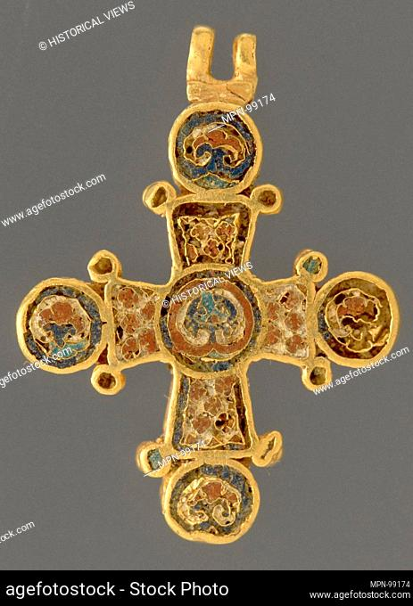 Cross. Date: ca. 1100; Geography: Made in Constantinople; Culture: Byzantine; Medium: Cloisonne enamel (red and blue); Dimensions: 15/16 x 7/8 x 1/8 in