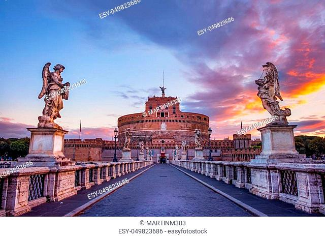 Scenic view of Castle of St. Angelo in Rome at sunrise, Italy