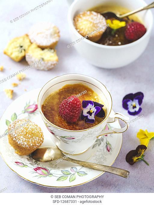 Earl grey creme brulee tea cups with mini sponge cakes