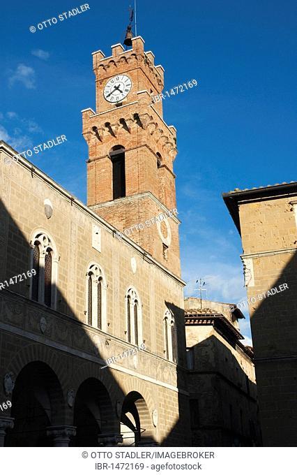 Clock tower, Pienza, Tuscany, Italy, Europe