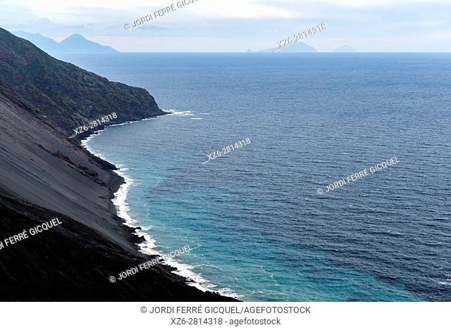 Northeast hillside of the Stromboli Island, Aeolian Islands, Province of Messina, Sicily, Italy, Europe