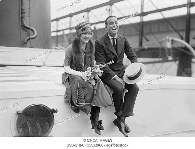 Actress Mary Pickford and Actor Douglas Fairbanks Aboard Ship during Honeymoon, 1920