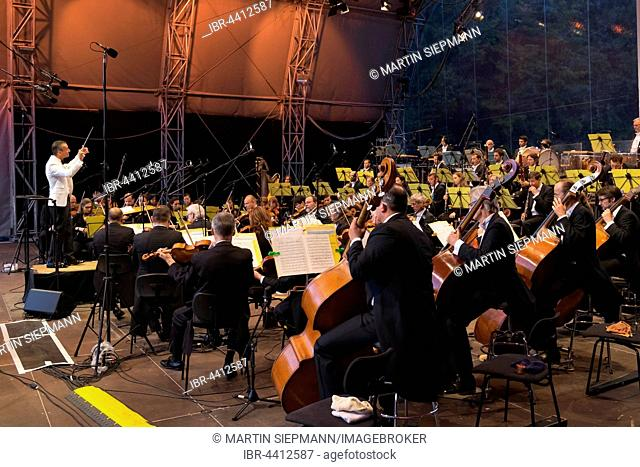 Nuremberg Symphonic Orchestra, open air stage, classic open air at the picnic in the park, Luitpoldhain, Nuremberg, Mittelfranken, Franconia, Bavaria, Germany