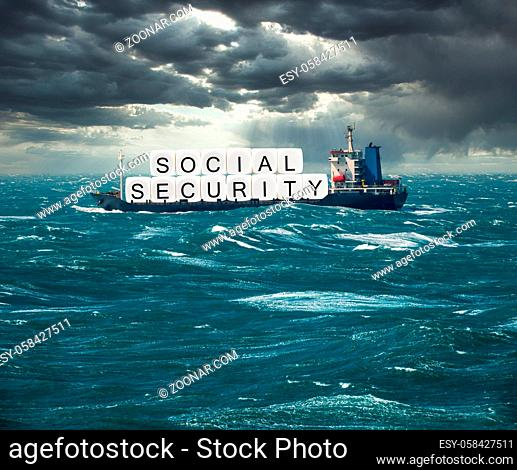 Social Security letters carried on freight ship in stormy seas as concept for issues around funding of USA pensions to seniors