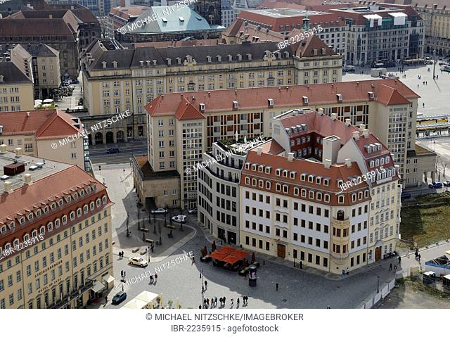 Historical replica buildings, An der Frauenkirche street, Dresden, Saxony, Germany, Europe