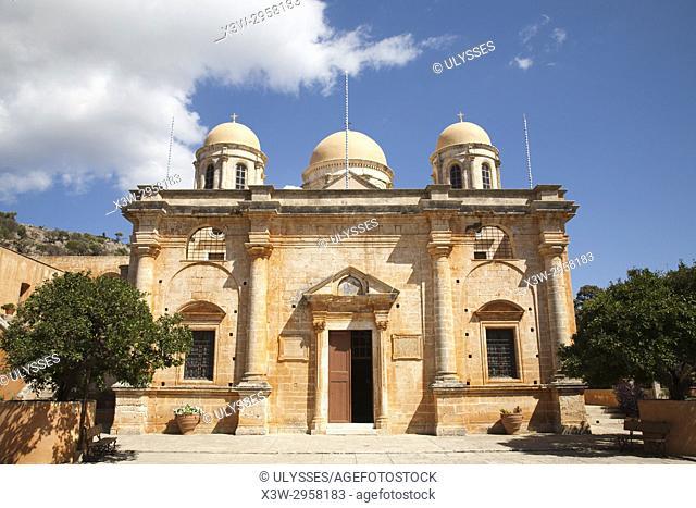 Agias Triada Monastery or Monastery of Agia Triada Tsangarolon, Akrotiti peninsula, Crete island, Greece, Europe
