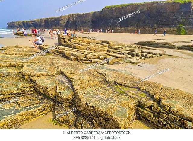 Beach of the Cathedrals, Playa de las Catedrales, Playa de Aguas Santas, Natural Monument, Cantabric Coast, Ribadeo, Lugo, Galicia, Spain, Europe