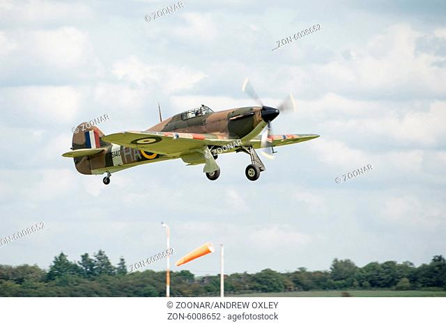 Duxford, UK - 25th May 2014: Vintage Britrish fighter, Hawker Hurricane' at Duxford Airshow