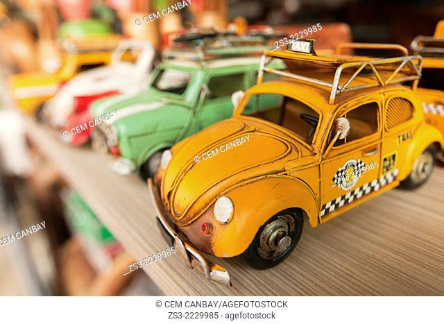 Close-up shot of colorful toy cars for sale at the shop in town center, Kas, Antalya Region, Turkish Riviera, Turkey, Europe