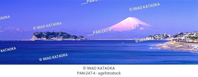Enoshima and Mt. Fuji from Cape Inamuragasaki, Kamakura, Kanagawa, Japan