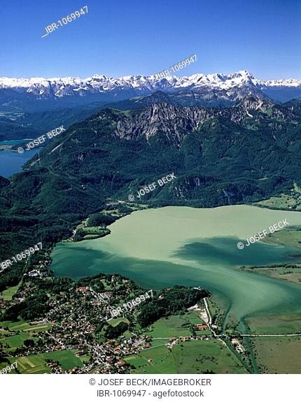 Kochel with Lake Kochelsee, pollution due to high water, Lake Walchensee at left, Mount Herzogstand in middle, at back Wetterstein range, Upper Bavaria, Germany