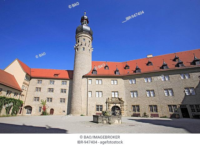 Inner courtyard of Weikersheim Castle, Baden-Wuerttemberg, Germany, Europe