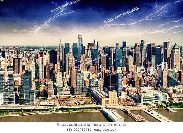 Aerial view from helicopter of New York Skyline during a storm
