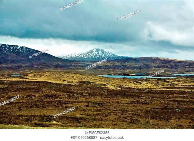 Glen coe mountain range behind Lochan na h-Achlaise, Bridge of Orchy, Scotland