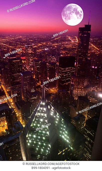 Trump Tower Loop Skyline From Mid America Club At The Aon Center Downtown Chicago Illinois USA