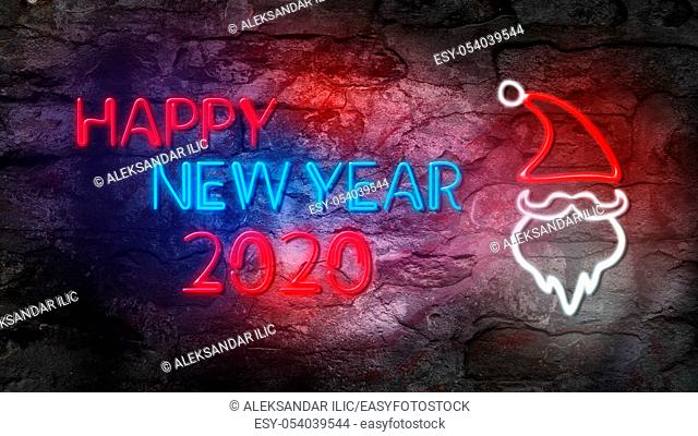 Happy New Year 2020. Glowing Neon Sign with Santa Claus Against Brick Wall