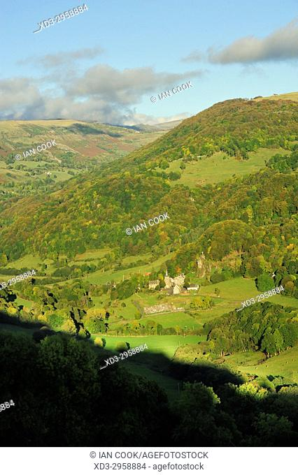 Cantal countryside viewed from Salers, Cantal Department, Auvergne, France