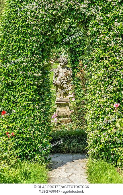 Ancient sculpture in the Park of Villa Pallavicino in Stresa at Lago Maggiore, Piemont, Italy