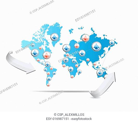 social network map illustration design