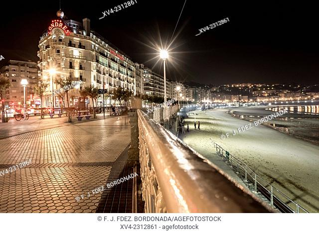 Londres Hotel facade. Old town of San Sebastián by night. Donostia, Basque Country, Spain