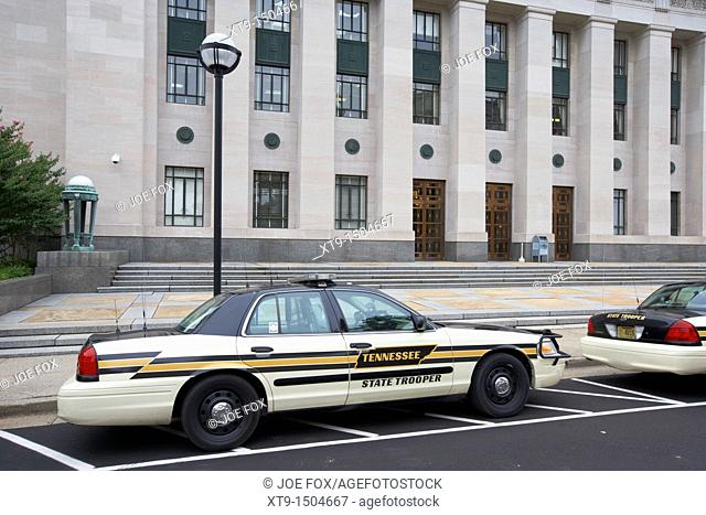 Tennessee state trooper vehicles outside supreme court building court of appeals Nashville Tennessee USA