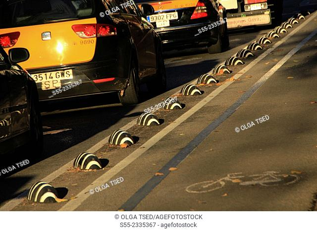 Bicycle lane and cars, Barcelona, Catalonia, Spain