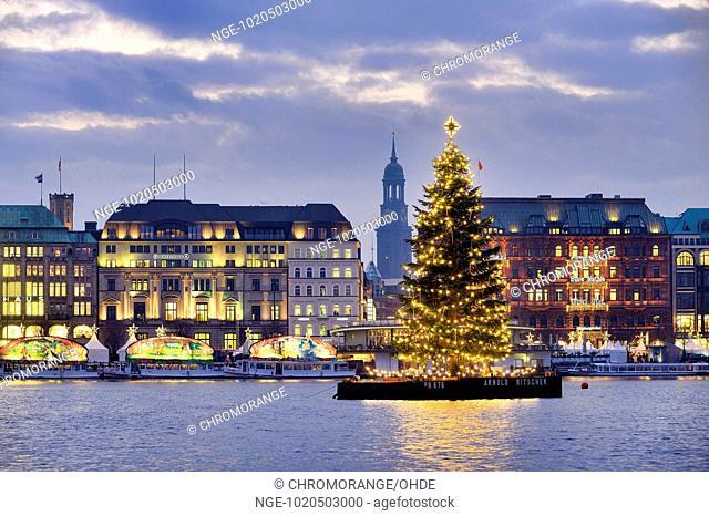 Christmas tree on lake Alster in Hamburg, Germany