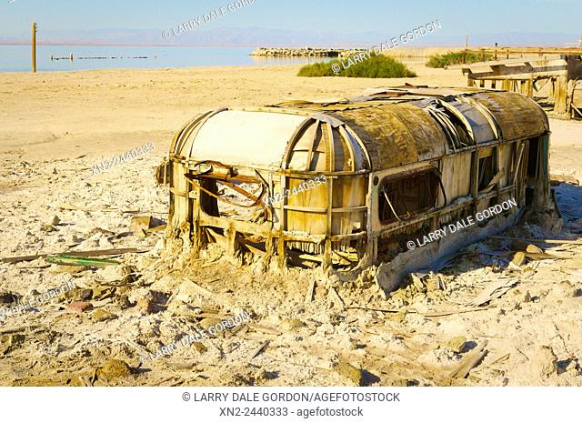 Abandoned trailer near the Salton Sea. Bombay beach. California. USA