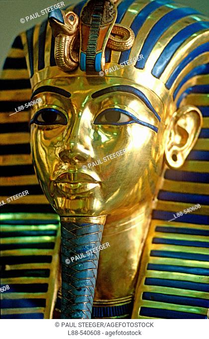 Gold death mask of Tutankhamen in the Egyptian Museum, Cairo. Egypt