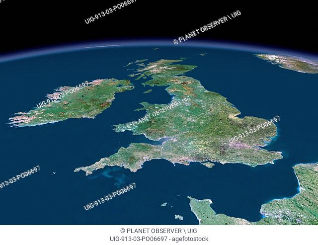 3D satellite image of UK and Ireland