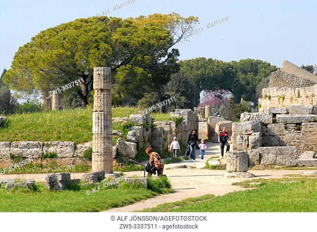 Archaeological area in Paestum, Campania, Italy