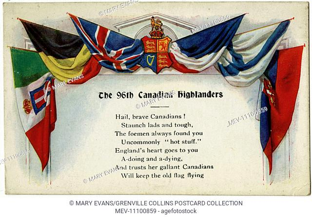 WW1 - Patriotic propaganda postcard in support of the 96th Battalion (Canadian Highlanders), an infantry battalion of the Great War Canadian Expeditionary Force