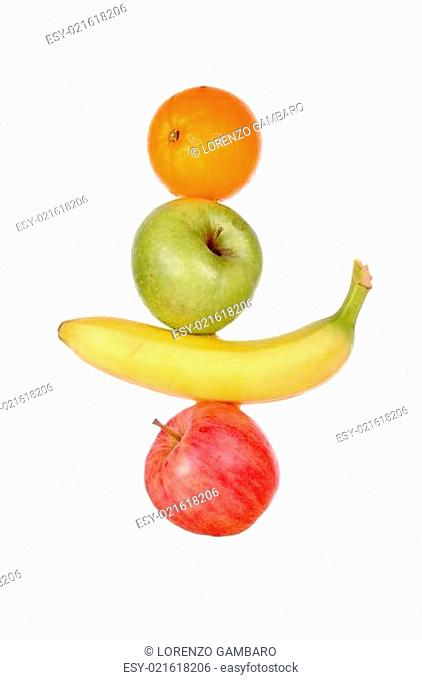 pile of colored fruits isolated on white background