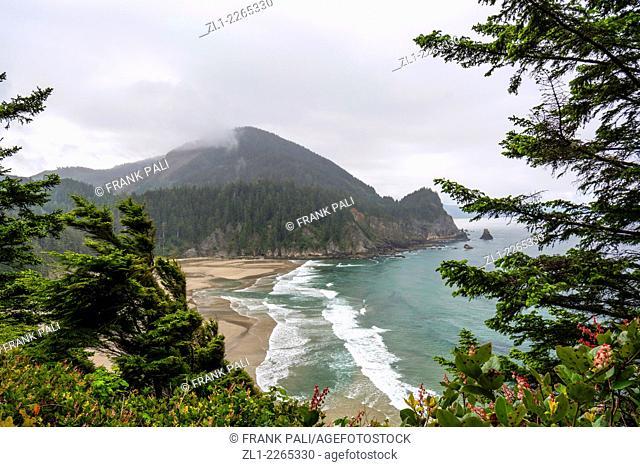 View of Oswald Beach Oregon coast trail Cape Falcon Oswald West State Park