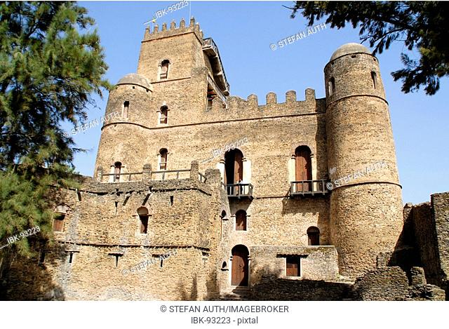 Old palace Gemp with towers and battlement Gondar Ethiopia