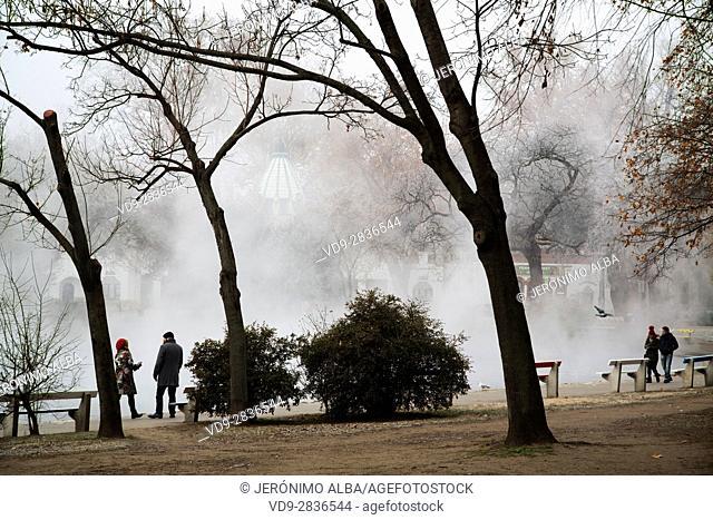 Tourists. City Park at fog. Budapest Hungary, Southeast Europe